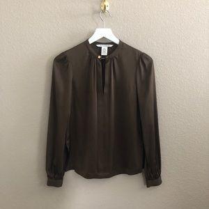Diane Von Furstenberg 'Billlow' brown silk blouse